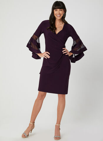 Bell Sleeve Jersey Dress, Purple, hi-res,  cocktail dress, V-neck, wrap, bell sleeves, jersey, rhinestones, ruching, fall 2019, winter 2019