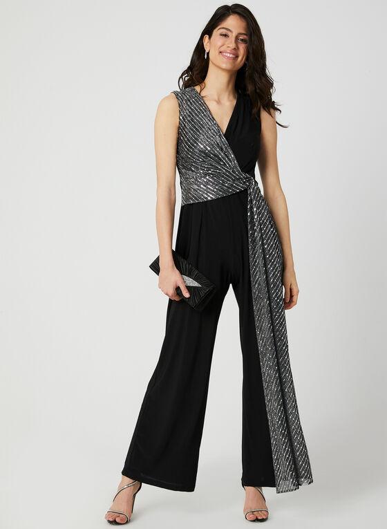 Sequin Embellished Jersey Jumpsuit, Black, hi-res