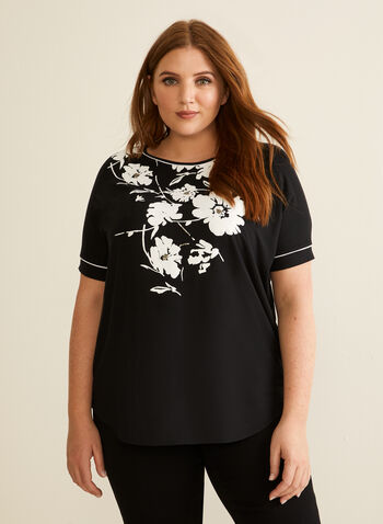 Floral Print Embellished T-Shirt, Black,  t-shirt, floral print, top, short sleeves, spring 2020, summer 2020