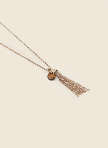 Chain Tassel Necklace, Gold,  necklace, tassel, chain, stone, marbled, gold, fall winter 2020