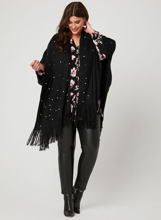 Pearl Embellished Poncho, Black, hi-res