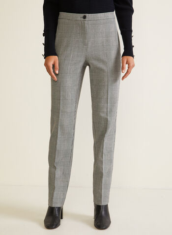 Signature Fit Straight Leg Pants, Black,  fall winter 2020, pants, signature fit, tartan print, pleats, straight leg, pockets