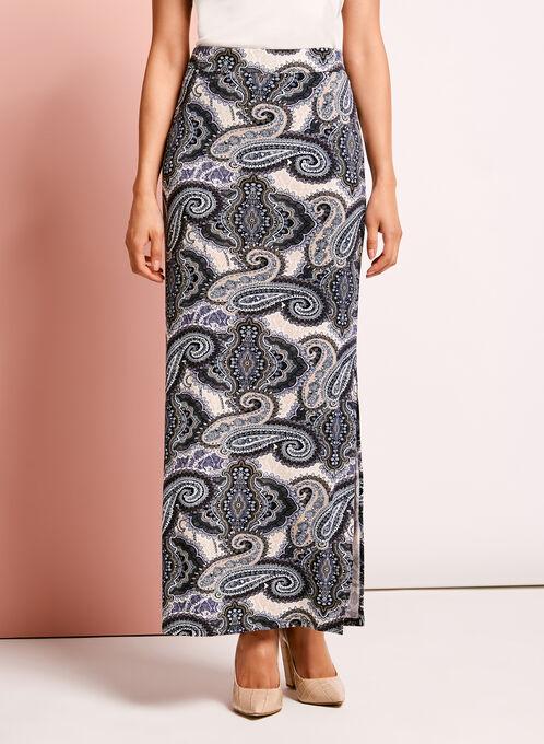 Paisley Print Maxi Skirt, Blue, hi-res
