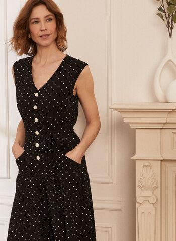 Dot Print Button Front Jumpsuit, Black,  spring summer 2021, jumpsuit, one piece, button front, V neck, sleeveless, tie belt, pockets, wide leg, dot print, polka dot, crepe