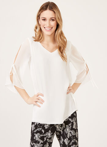 ¾ Sleeve V-Neck Crepe Blouse, Off White, hi-res