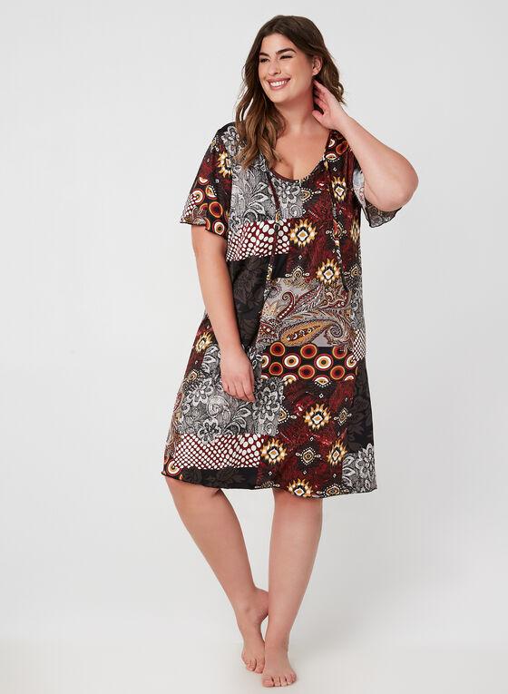 Hamilton - Patchwork Print Nightgown, Red, hi-res