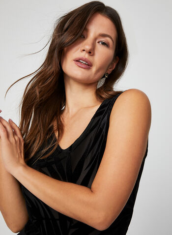 Sleeveless Velour Burnout Top, Black, hi-res,  canada, sleeveless, top, burnout top, burnout, leaf print, fall 2019, winter 2019
