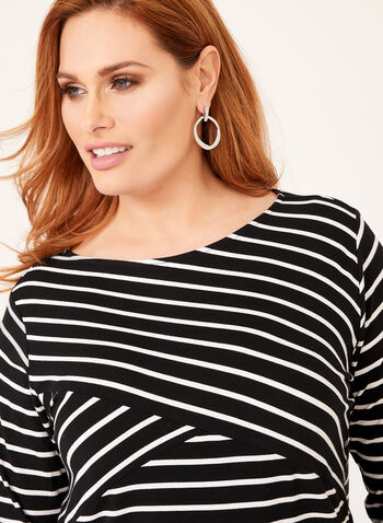 Stripe Print ¾ Sleeve Top, Black, hi-res