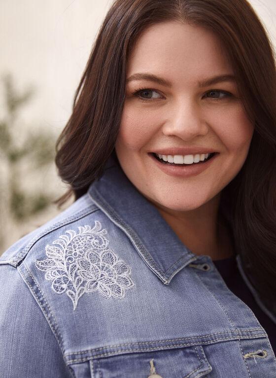 Floral Embroidery Denim Jacket, Blue