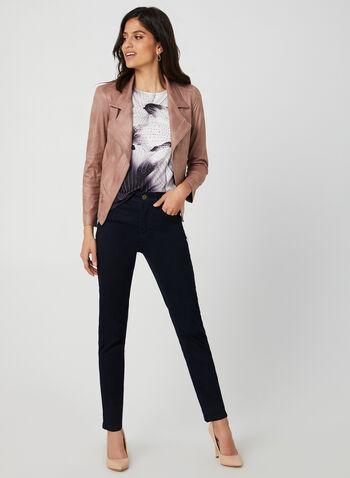 T-shirt à motif floral et strass, Noir, hi-res,  t-shirt, fleurs, strass, col dégagé, géométrique, automne hiver 2019