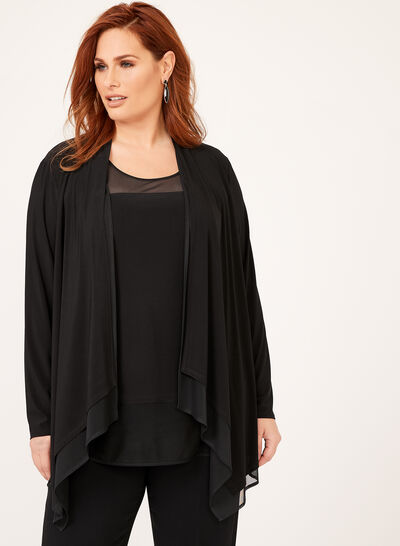 Mesh Jersey Open Front Cardigan