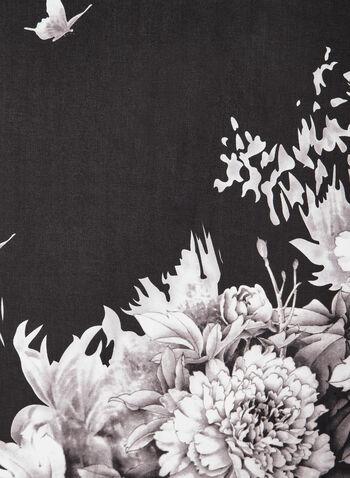 Foulard oblong fleuri , Noir, hi-res,  foulard, oblong, papillon, fleur, mousseline, automne hiver 2019