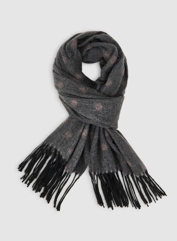 Dot Print Scarf, Grey,  fall winter 2019, fringe, dot print