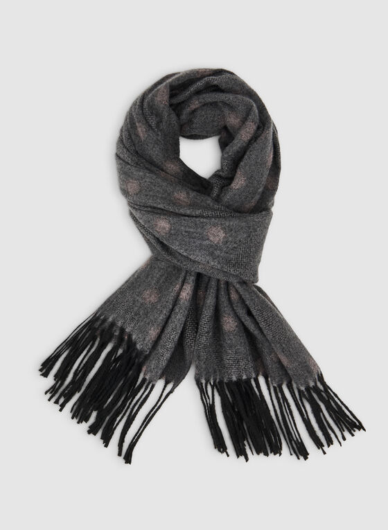 Dot Print Scarf, Grey