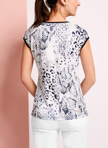 Embellished Lace Trim Printed T-Shirt, , hi-res