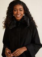Faux Fur Raglan Sleeve Coat, Black