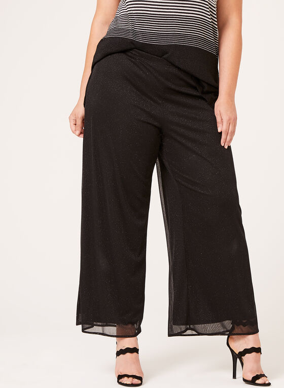 Chiffon Wide Leg Pull-On Pants, Black, hi-res