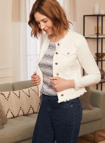 Frayed Hem Denim Jacket, Off White,  jacket, denim, frayed, pockets, button front, spring summer 2020