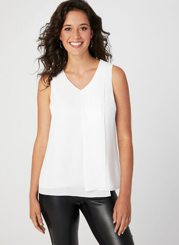 Layered Sleeveless Blouse, Off White, hi-res