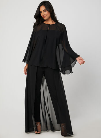 Chiffon Cape, Black,  cape, long cape, fall 2019, winter 2019