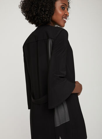¾ Sleeve Open Front Cardigan, Black,