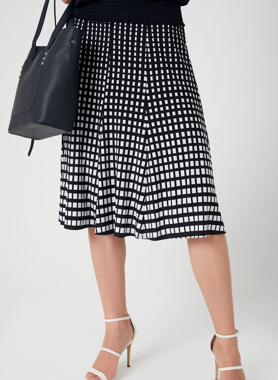 Geometric Print Gored Skirt, Blue, hi-res
