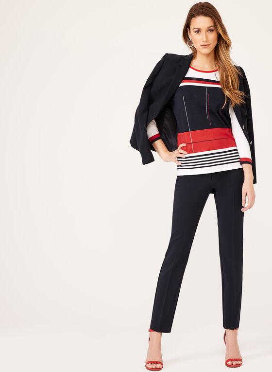 Alison Sheri - Pull en tricot à motif graphique, Blanc, hi-res