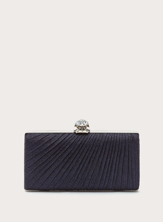 Metallic Pleated Box Clutch, Blue, hi-res