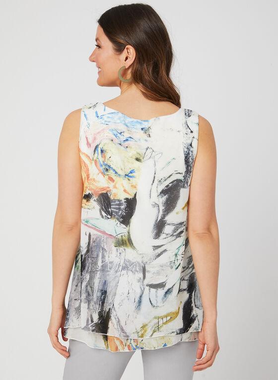 Charlie B - Abstract Print Sleeveless Top, White
