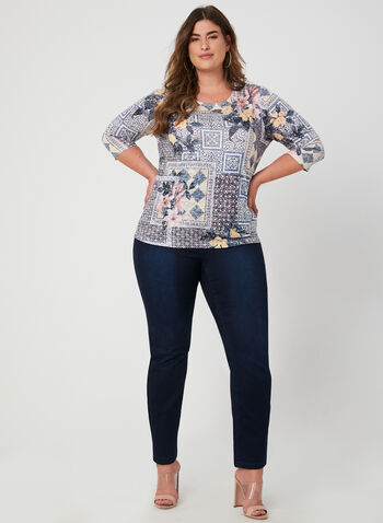 Patchwork Print ¾ Sleeve T-Shirt, Blue, hi-res,  t-shirt, 3/4 sleeves, patchwork print, burnout, fall 2019, winter 2019