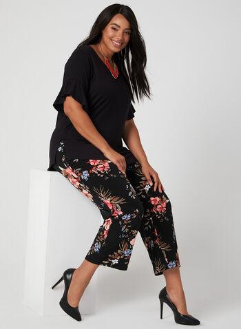 Pantalon coupe moderne fleuri, Noir, hi-res
