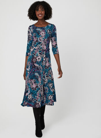 Nina Leonard – Floral Puff Print Midi Dress, Blue, hi-res