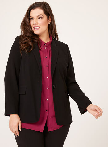 Louben - Single Button Stitched Collar Blazer, , hi-res