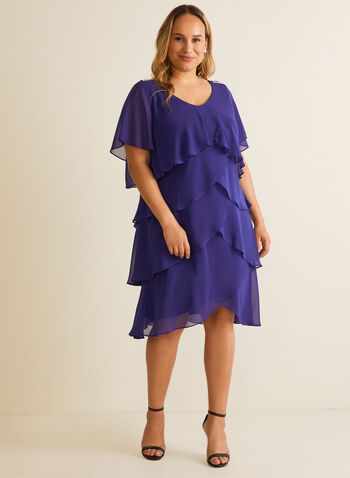 Tiered Chiffon Dress, Blue,  cocktail dress, occasion, chiffon, tiered, rhinestones, short sleeves, v-neck, spring summer 2020