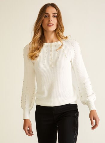 Sweater With Pearls And Rhinestones, White,  fall winter 2020, top, knit, sweater, slip on, pearls, stones, beaded, long sleeves, puff sleeves, textured, holiday