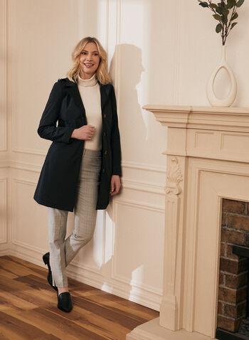 Novelti - Manteau boutonné à capuchon amovible, Noir,  manteau, demi-saison, boutons, poches, capuchon, printemps été 2020