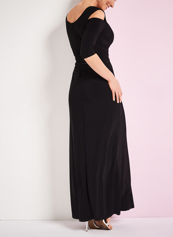 ¾ Sleeve Cold Shoulder Gown, Black, hi-res