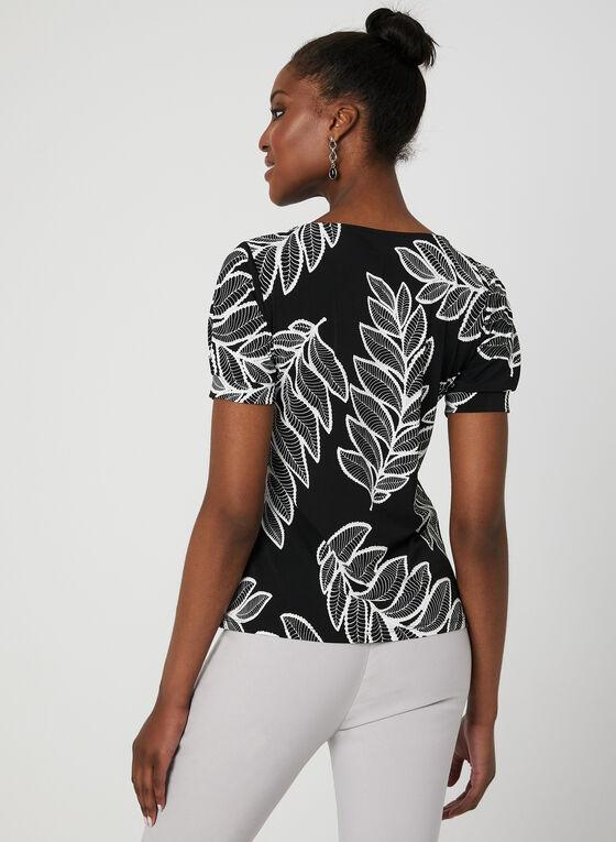 Haut motif feuilles à manches courtes, Noir, hi-res
