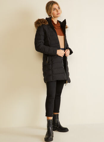 Nuage - Stretch Vegan Down Quilted Coat, Black,  fall winter 2020, coat, jacket, quilted, faux down, hood, winter coat, faux fur, vegan leather, pockets, Technofill, recycled, eco, cruelty-free