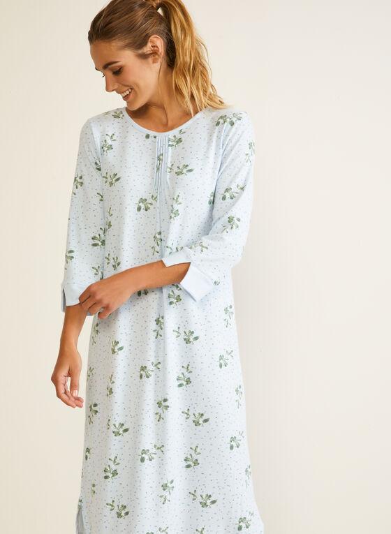 Robe de nuit plissée à fleurs, Bleu
