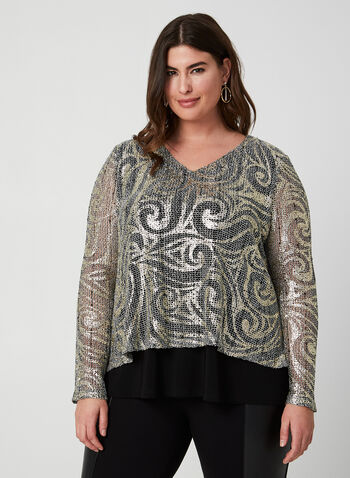 Joseph Ribkiff - Metallic Knit Top, Black, hi-res,  top, long sleeves, crochet, jersey, v-neck, fall 2019, winter 2019