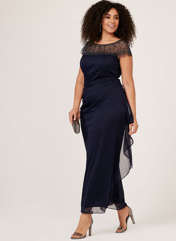 Beaded Illusion Neck Gown, Blue, hi-res