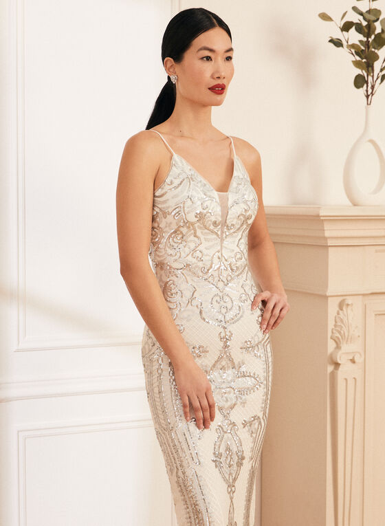 V-Neck Sequin Gown, Silver