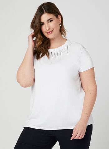 Crystal Embellished T-Shirt, White, hi-res
