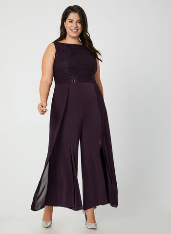 Jumpsuit With Lace & Sequins, Purple, hi-res,  jumpsuit, lace jumpsuit, lace, sequins, sequin jumpsuit, chiffon, wide leg jumpsuit, Holiday. fall 2019, winter 2019