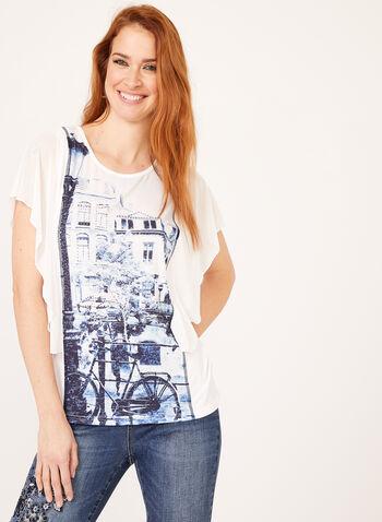 Alison Sheri - Blouse poncho à imprimé urbain et strass, Blanc, hi-res