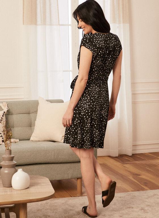 Robe fleurie style porte-feuille, Noir