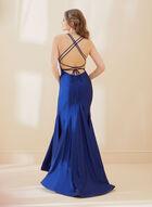 Satin Mermaid Dress, Blue