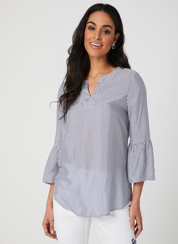 Blouse rayée à col tunisien, Blanc, hi-res,  blouse, rayures, manches 3/4, printemps 2019