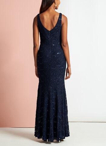 Sequin Lace Sweetheart Neck Dress, Blue, hi-res